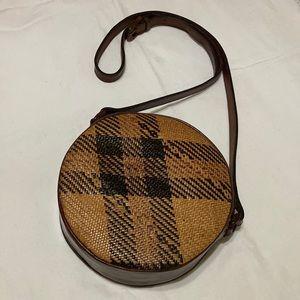 Vintage Elliot Lucca Round Rattan/Leather Bag